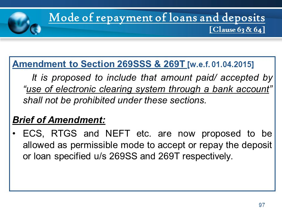Mode of repayment of loans and deposits [Clause 63 & 64]